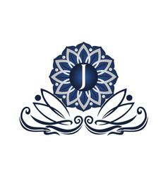 flower elegant icon initial j vector image