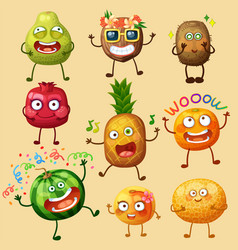 funny fruit characters isolated on background vector image
