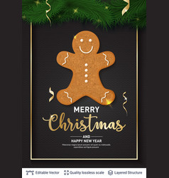 gingerbread man cookie and text on dark banner vector image