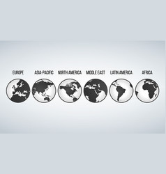 globes with continents in different variations vector image