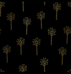 Gold foil abstract palm trees pattern vector