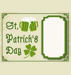 Green clover and two beer mugs vector