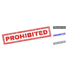 Grunge prohibited scratched rectangle watermarks vector