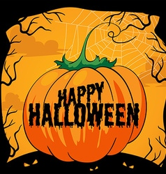 Halloween theme with pumpkin vector image