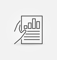 hand holding business report icon in thin vector image