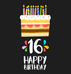 Happy birthday cake card 16 sixteen year party vector