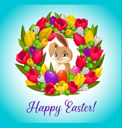 Happy easter card with bunny inside flower wreath vector