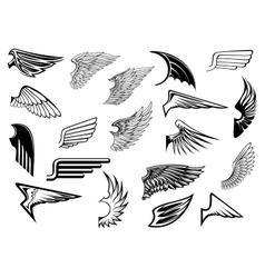 Heraldic vintage wings set vector image