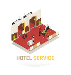 hotel service isometric composition vector image