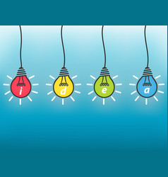idea business concept colorful light bulb on blue vector image
