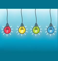 Idea business concept colorful light bulb on blue vector