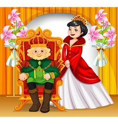 King and queen wearing crowns vector image