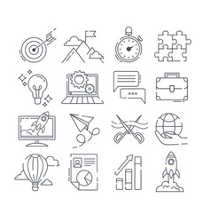 large set black and white launch icons vector image