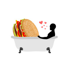 Lover fast food man and hamburger in bath guy and vector