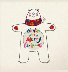 merry christmas polar bear art greeting card vector image