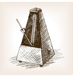 Metronome hand drawn sketch vector