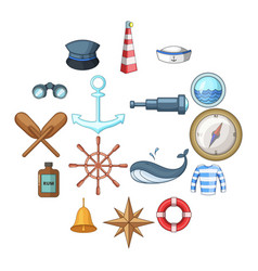 nautical icons set cartoon style vector image