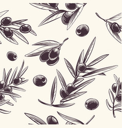 olive branches seamless pattern mediterranean vector image