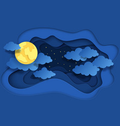 paper cut night sky dreamy background with moon vector image