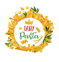 Pasta menu template icons of italian pastry food vector