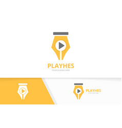 pen and play button logo combination write vector image