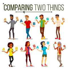 people comparing a with b balance of mind vector image