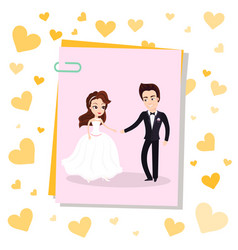 photo card on clip happy newlywed couple dancing vector image