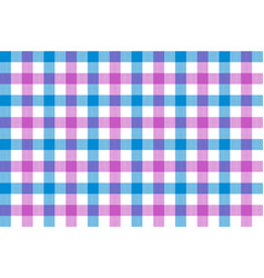 Pink blue check fabric texture background vector