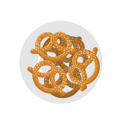 Pretzel on plate top view beer snack on dish food vector