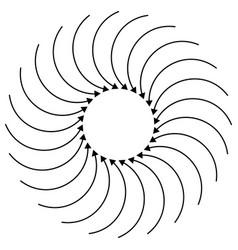 Radial circular arrow for swirl twirl turn vector