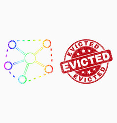 rainbow colored dot links icon and distress vector image