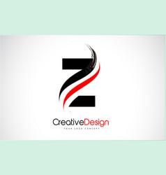 Red and black z letter logo design brush paint vector