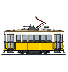Retro yellow and white tramway vector