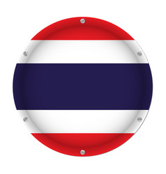 round metallic flag of thailand with screws vector image