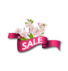 Sale pink ribbon with flowers season discount vector
