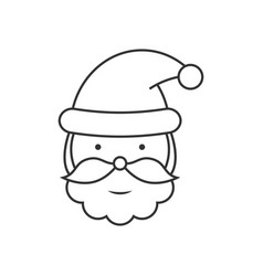 Santa claus head line icon vector