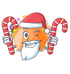 santa with candy cosmetic bag above cartoon vector image