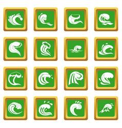 sea waves icons set green vector image