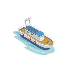 Seaport tugboat isometric 3d element vector