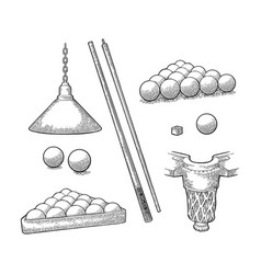 set billiard stick balls chalk pocket and lamp vector image