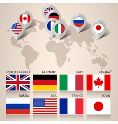Set of g8 flags with map vector