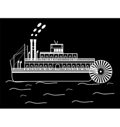 Silhouette boat with a water wheel vector