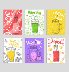 smoothie flyers colorful detox juices fresh vector image