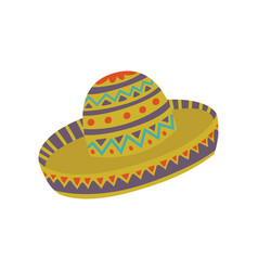 sombrero hat with mexican ornament cartoon vector image