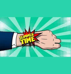 summer time comic text pop art hand watch vector image
