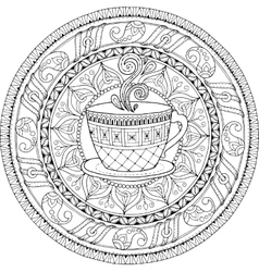 Tea and coffee theme Circle tribal doodle vector