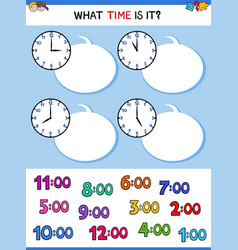 Telling time clock face cartoon game vector