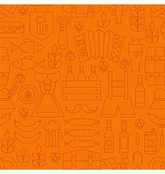 Thin oktoberfest line alcohol beer orange seamless vector