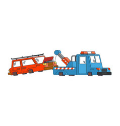 tow truck and car wrecker evacuates auto help on vector image