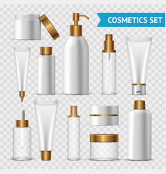Transparent cosmetics icon set vector